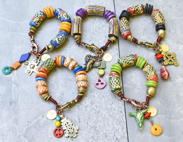 awesome exotic ethnic bold chunky african krobo charm bracelets