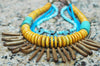 Unique Turquoise Blue, Mustard Yellow and Bronze Pearl Fringe Necklace