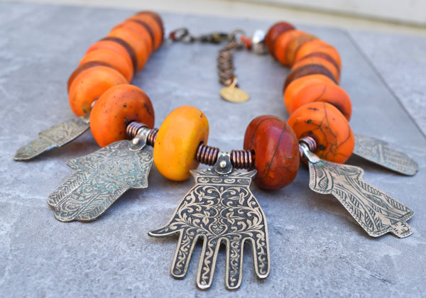 Vintage Berber Amber Resin and Moroccan Silver Hamsa Pendant Necklace