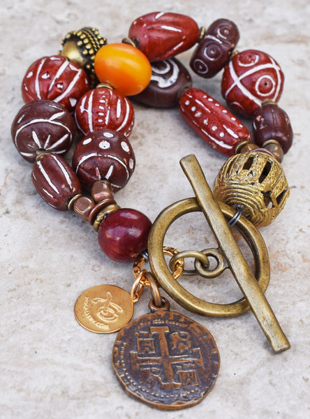 Unique Burgundy and Maroon Clay, Copal Amber and Brass Charm Bracelet