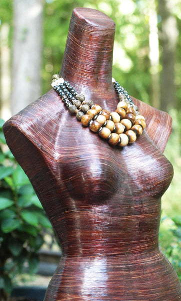 Bold Tribal Statement Necklace with brown, black, bone, brass