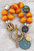 Tibetan Inspired African Copal Amber, Turquoise & Buddha Coin Bracelet