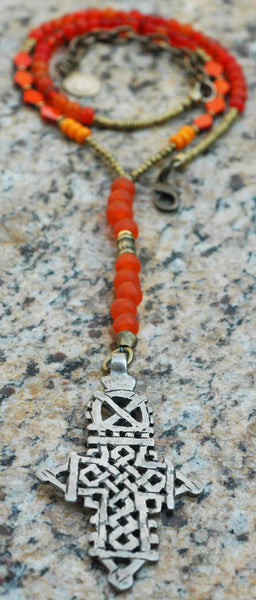 Orange Glass and African Brass Everyday Ethiopian Cross Pendant Necklace