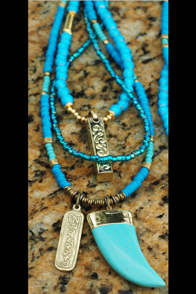 Long Boho Mixed Blues, Brass, Gold and Mosaic Turquoise Horn Necklace
