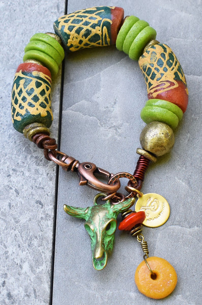 Rustic African Tribal Green and Orange Krobo Bead Cow Skull Charm Bracelet