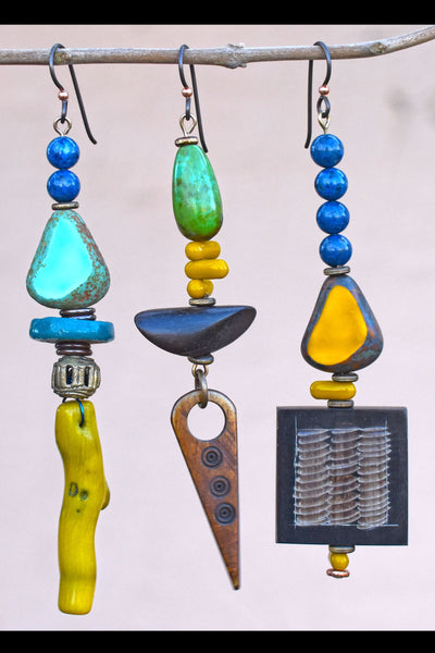 Exotic Tropical Green Turquoise, Brown, Mustard Mix and Match Earrings