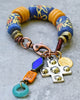 Rustic African Tribal Chunky Blue and Orange Krobo Bead Charm Bracelet