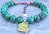 Gorgeous Blue Green Turquoise Ball and Tibetan Pendant Choker Necklace