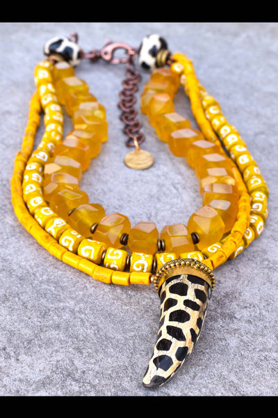 Bright Yellow, Black and White African-Inspired Giraffe Horn Necklace