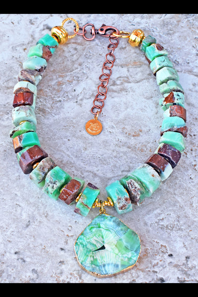 Intriguing Chunky Sea Foam Green Chrysoprase Nugget and Geode Necklace