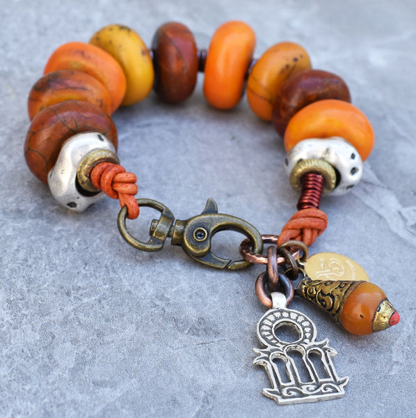 Vintage Berber Amber Resin and Moroccan Silver Tribal Charm Bracelet