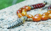 Yellow Agate, Carnelian, Bronze and Tibetan Zebra Horn Bold Necklace