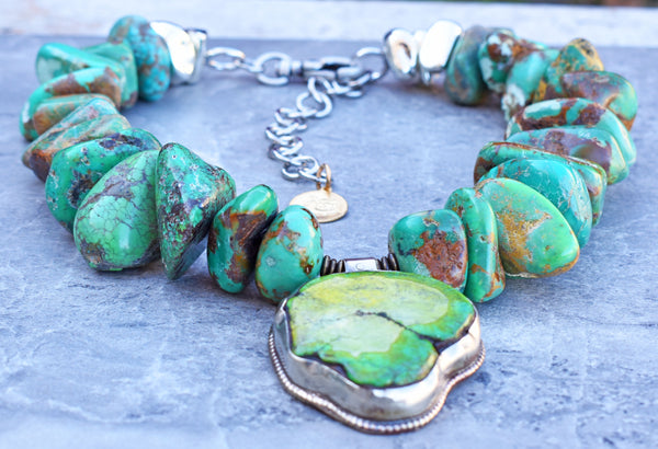 Stunning Chunky Blue Green Turquoise Nugget Pendant Statement Choker