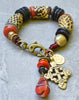 Rustic African Tribal Chunky Black and Orange Krobo Bead Charm Bracelet