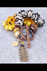 Bright Yellow, Black and White African-Inspired Batik Bone Bracelet