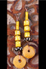 Bright Yellow, Mustard, Black and White African-Inspired Disc Earrings