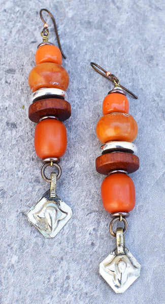 Moroccan-Inspired Amber Resin and Silver Afghan Kuchi Dangle Earrings