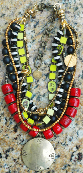 Bold Fashionable Statement Red Coral, Black Onyx, Lime & Gold Necklace