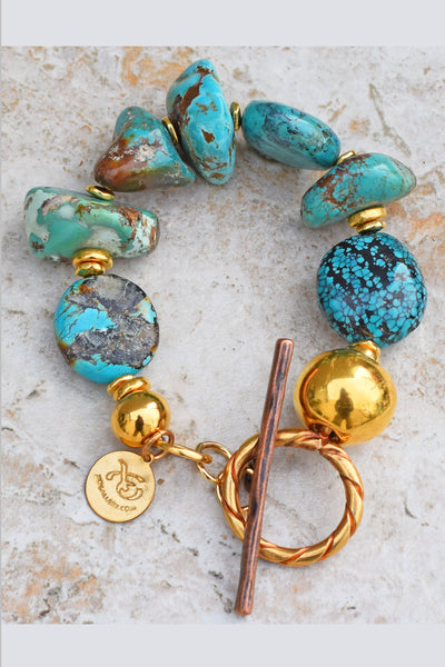 Beautiful and Bold Chunky Turquoise Stone and Gold Statement Bracelet