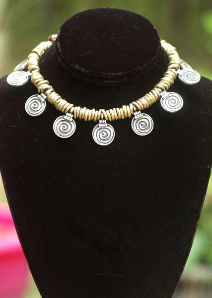 Ethnic African Brass and Spiral Pendant Tribal Choker Necklace