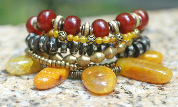 Yellow Agate Carnelian Brass & Tibetan Prayer Bead Statement Bracelet