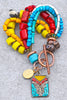 Colorful and Unique Red, Turquoise and Yellow Tibetan Charm Bracelet