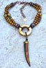 Exotic Island Tribal Natural Bone, Brass and Batik Brown Horn Necklace
