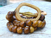 Exotic Island Tribal Natural Bone & Batik Brown Buddhist Charm Bracelet