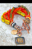 Fun and Vibrant Fall Orange and Yellow Glass and Copper Charm Bracelet