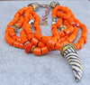 African Inspired Vibrant Orange Glass and Zebra Horn Pendant Necklace