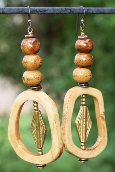 Exotic Island Tribal Batik Brown & Natural Bone Vertebrae Hoop Earrings