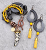 Exotic Modern Tribal Black, Yellow, Gray and Copper Horn Tusk and Tassel Bracelet and Earrings