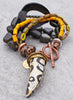 Exotic Modern Tribal Black, Yellow, Gray and Copper Horn Tusk Bracelet