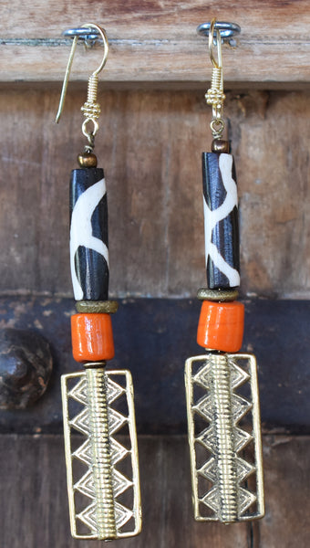 African Inspired Orange Glass, Giraffe Bone & Brass Rectangle Earrings