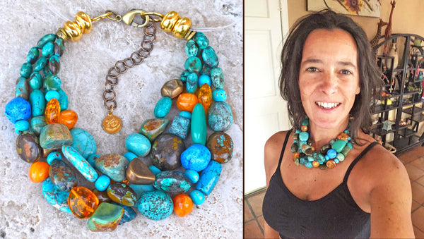 Custom Bold Chunky Turquoise Nugget & Amber Choker Statement Necklace