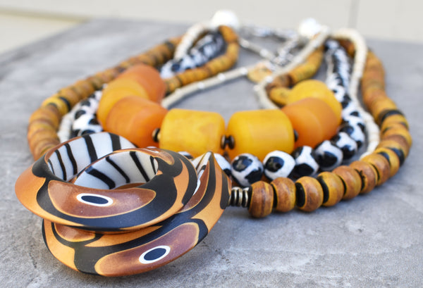 Custom Safari Style Statement Necklace with Unique Polymer Clay Pendant