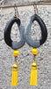 Exotic Modern Tribal Black and Gray Horn and Yellow Tassel Earrings
