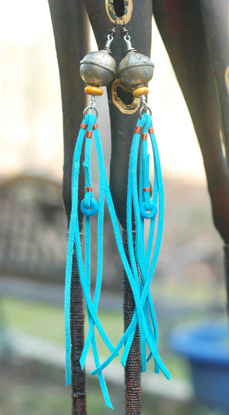 Bold African Silver Ball and Blue Leather Fringe Statement Earrings