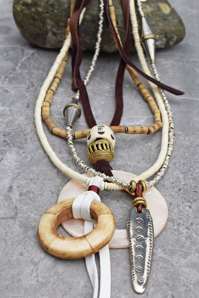 Island Style Leather and White Shell Hoop Bohemian Statement Necklace
