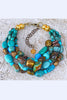 Custom Bold Chunky Turquoise Nugget & Bronze Choker Statement Necklace