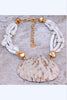 Custom Shimmering Pearl, Shell and Gold Choker Pendant Necklace
