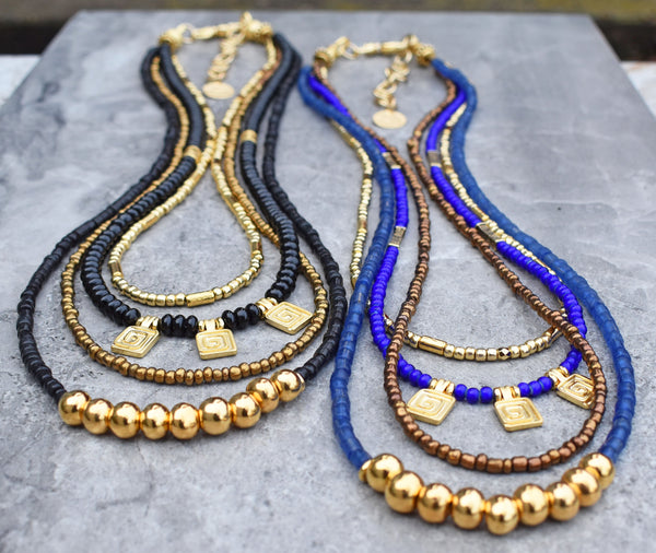 beautiful elegant classic black and gold & blue and gold holiday necklaces