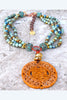Unique Blue Brown Jasper, Copper and Carved Jade Medallion Necklace