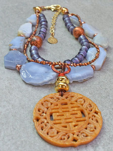 Enchanting Blue Chalcedony, Purple, Copper and Carved Jade Necklace