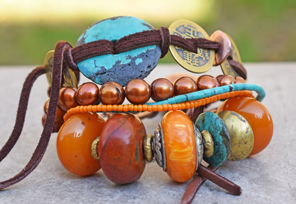 Bold and Exotic Tibetan Inspired Amber and Turquoise Statement Bracelet