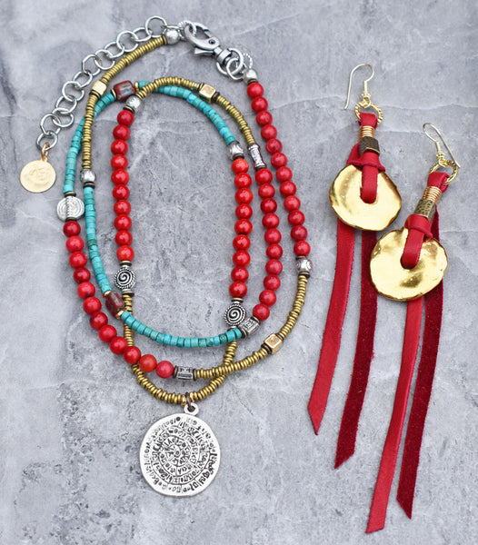 Boho Southwestern Long Turquoise and Coral Necklace & Red Leather Fringe Earrings!