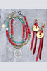 Get your Bohemian Southwestern Style on with this Long Turquoise and Coral Necklace and Red Leather Fringe Earrings!