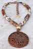Rustic Brown and White Tibetan Agate and Carved Jade Medallion Necklace