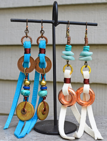 boho tribal leather fringe dangle earrings