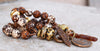Rustic Brown and White Tibetan Agate, Gold & Brass Coin Charm Bracelet